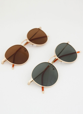 Gold Round Frame Sunglasses, Styleonme