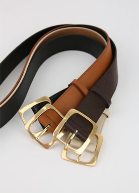 Gold Squared Buckle Wide Belt, Styleonme