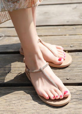 T-Strap Flat Sandals, Styleonme