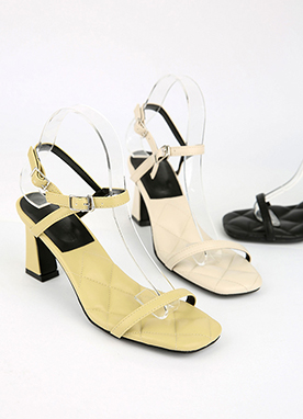 Embossed Cushion Sandal Heels, Styleonme