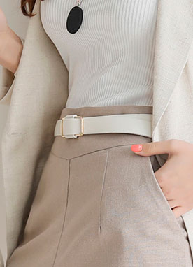 Simple Gold Buckle Belt, Styleonme