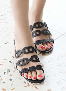 Three Strap Mid-Heel Sandals, Styleonme