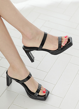 Patent Two Strap Heels, Styleonme