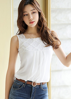 Lace Squared Neck Sleeveless Chiffon Blouse, Styleonme
