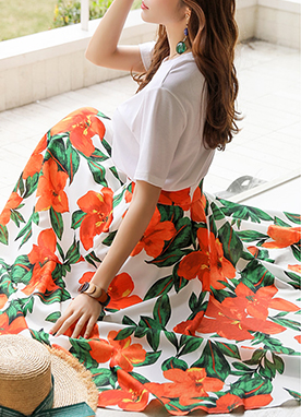 Vivid Floral Print Long Flared Skirt, Styleonme