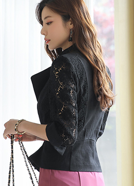 Floral Lace Detail Linen Rider Jacket, Styleonme
