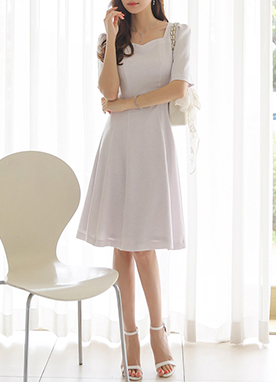 Tulip Neck Belt Set Flared Dress, Styleonme