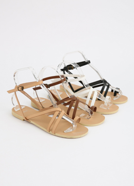 Neutral Color Cross Strap Flat Sandals, Styleonme
