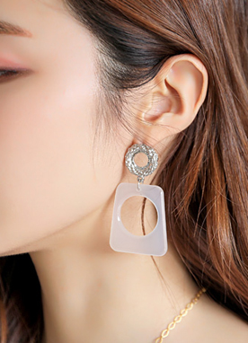 White Acrylic Squared Earrings, Styleonme