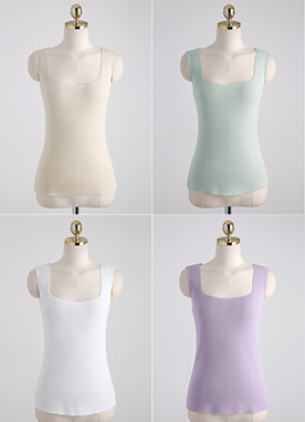 Squared Neck Tank Top, Styleonme