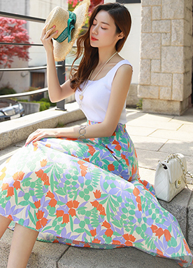 Flower Garden Print Long Flared Skirt, Styleonme