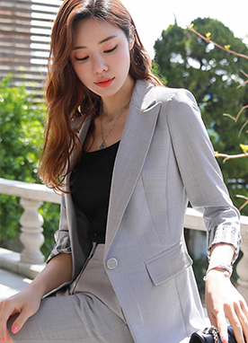 Single Button Slim Tailored Jacket, Styleonme