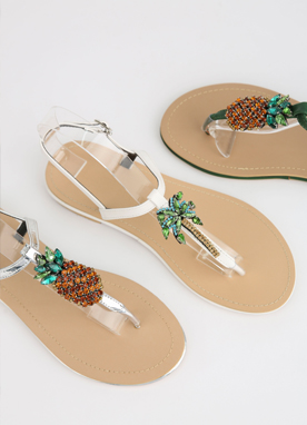 Pineapple Flat Thong Sandals, Styleonme