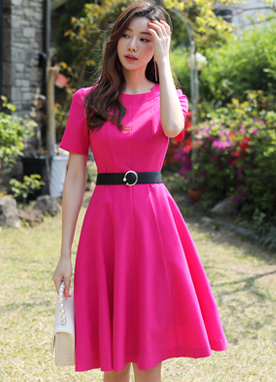 Hot Pink Belt Set Flared Dress, Styleonme