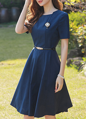 Navy Belt Set Flared Dress, Styleonme