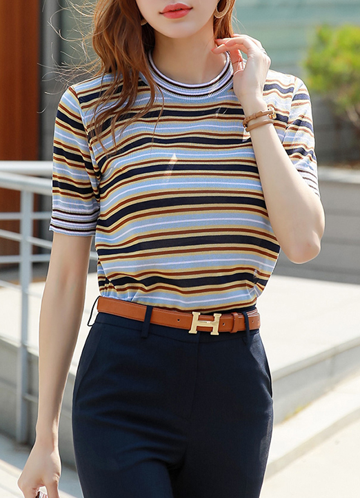 Color Stripe Short Sleeve Knit Top, Styleonme