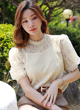 See-through Floral Lace Puff Sleeve Blouse, Styleonme