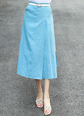 Side Slit Linen-Blend Skirt, Styleonme