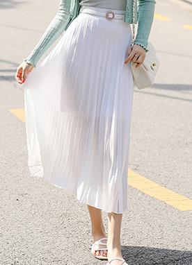 Soft Color Pleated Long Skirt, Styleonme