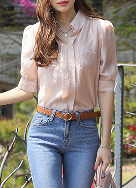 Sheen Puff Sleeve Collared Blouse, Styleonme