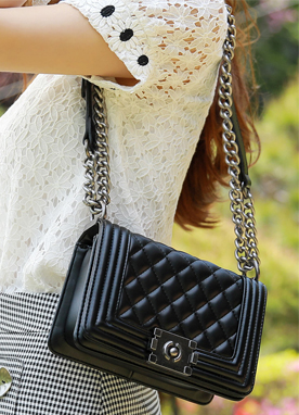 Black Chain Strap Quilted Bag, Styleonme