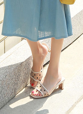 See-through Polka Dot Slipper Heels, Styleonme