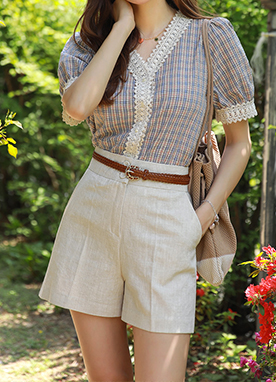 Two Button Linen-Blend Shorts, Styleonme