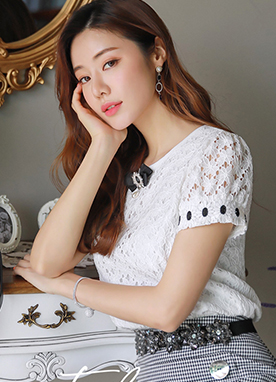 Floral Lace Puff Sleeve Blouse Tee, Styleonme