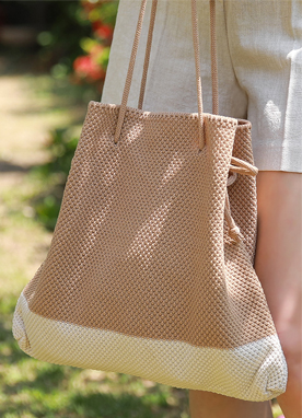 Drawstring Knit Tote Bag, Styleonme