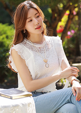See-through Floral Lace Sleeveless Blouse, Styleonme