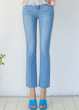 Bright Blue Wash Semi-Boot-Cut Jeans, Styleonme