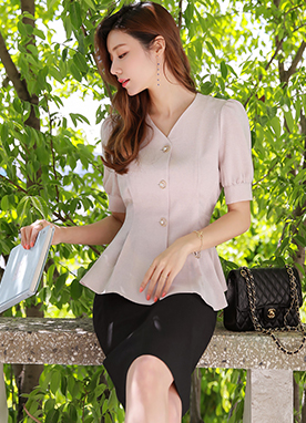 Pearl Button Puff Sleeve Peplum Blouse, Styleonme