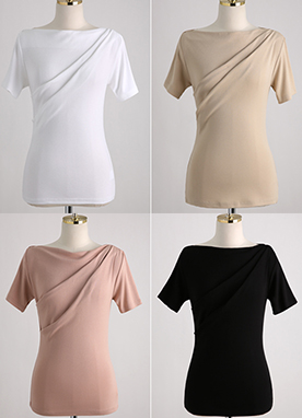Shirred Drape Detail T-Shirt, Styleonme