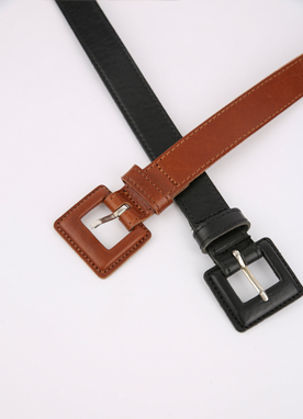 Squared Buckle Stitch Detail Belt, Styleonme
