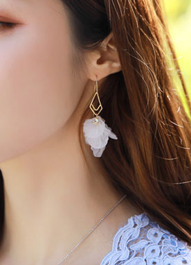 Cubic White Flower Earrings, Styleonme