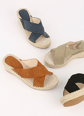 Cross Strap Wedge Sandals, Styleonme