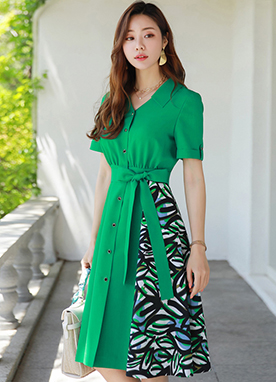 Green Leaf Print Collared Flared Dress, Styleonme