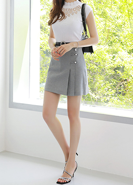 Check Print Pearl Button Pleated Skort, Styleonme