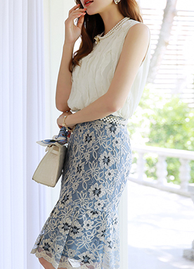 Two-Tone Blue Floral Lace Pleated Hem Skirt, Styleonme