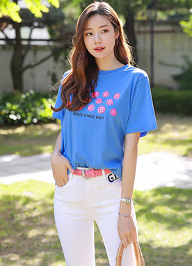 Pink Smiley Face Print T-Shirt, Styleonme
