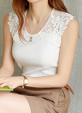 Shoulder Lace Detail Ribbed Camisole Top, Styleonme