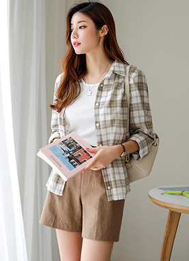 Check Print Linen-Blend Collared Shirt, Styleonme