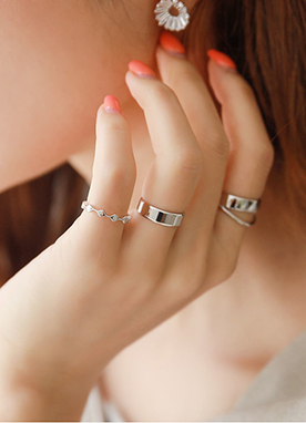 Silver Color 4Set Rings, Styleonme