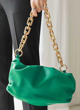 Gold Chain Shirred Bag, Styleonme
