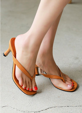 Simple Thong Heel Sandals, Styleonme