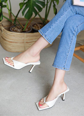 Squared Toe Thong Mule Heels, Styleonme