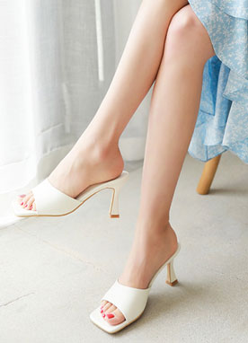 Simple Squared Toe Mule Heels, Styleonme