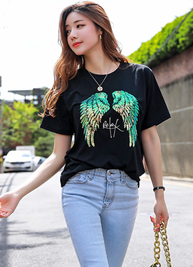 Sequin Angel Wings T-Shirt, Styleonme