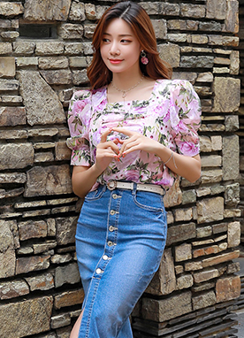 Rose Print Squared Neck Shirred Blouse, Styleonme