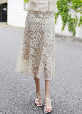 Lace Long Flared Skirt, Styleonme